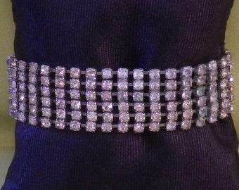Vintage Sixties Six Strand Claw Set Silver Clear Rhinestone Bracelet Slide In Clasp
