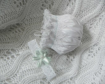 Reborn Preemie smocked bonnet and head band