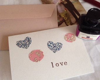 Liberty London fabric embellished greeting cards, handmade in Paris