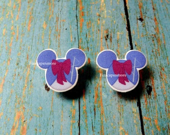 Fairy Godmother Inspired Mouse Head Ears Nickel Free Post Earrings