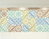 Tile decals SET OF 15 tile stickers for kitchen backsplash tiles, watercolor vintage style vinyl stickers, bathroom decal