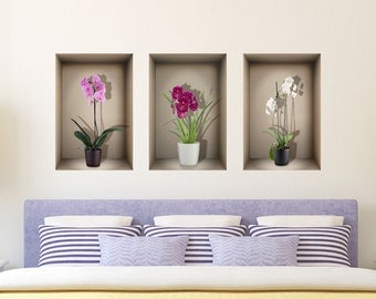 3D niche wall decal orchids, for living room,bedroom,kitchen, 3d decals, 3d wall decals, wall stickers,vinyl stickers