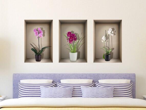 3d nische wand aufkleber orchideen für wohnzimmer