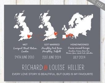 1st anniversary gift for wife - Custom wedding map gift for wife - Custom met engaged married Map anniversary gift art - DIGITAL file only!