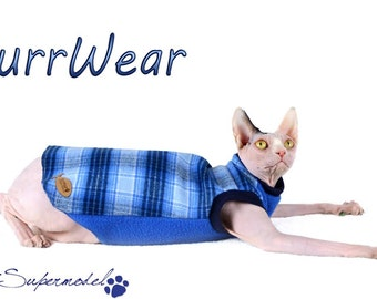 Platitude Flannel and Fleece Shirt / Jammies  for Sphynx, Rex ,Peterbalds and all cats.