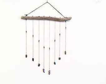 Driftwood & Rainbow Quartz Crystal Wall Hanging
