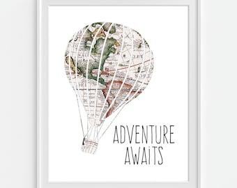 Hot Air Balloon Art Print 'Adventure Awaits' Map Hot Air Balloon, 5x7, 8X10, 11x14 Nursery Wall Art, Nursery Decor, Baby Wall Art, World Map