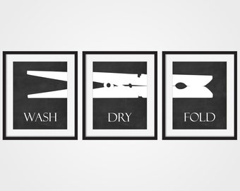 Laundry Room Wall Art Print U0027Wash Dry Foldu0027 Faux Chalkboard Art Set Of 3 Part 50