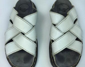 Size 9 - White Leather Dr. Marten Sandals - Vintage - Mens EU 42 - US 9 - UK 8