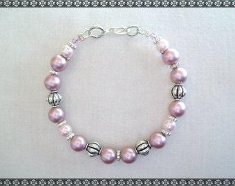 pink bracelet, swarovski bracelet, pearl bracelet, pearl pink