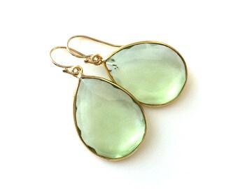 Green Amethyst Gold Earrings, Light Green Drop Earrings