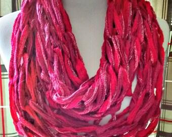 Red Arm Knit Cowl, Fashion Cowl, Fashion Scarf, Sparkle Cowl