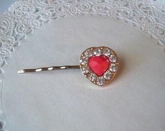 Heart Hair Pin (210) - Heart Bobby Pin - Rhinestone Heart Hair Pin - Repurposed jewelry - Rhinestone Hair pin