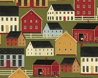 Windham Fabrics Simple Life 39054-2 Green Houses Yardage by Karen Cruden