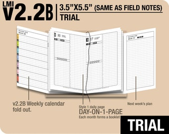 Trial [FIELD NOTES v2.2B w DS1 do1p] November to December 2017 - Midori Travelers Notebook Refills Printable Planner.