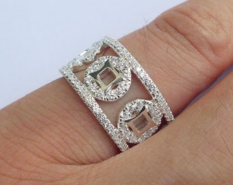 Solid Sterling Silver&CZ Stone Chinese Ancient Coin Ring