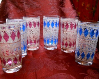 Vintage Mid-Century Bar Glasses -Pink/Blue Diamond Design - Mix or Match