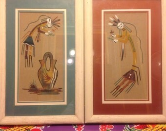 Vintage pair of framed and matted colorful Navajo sand paintings
