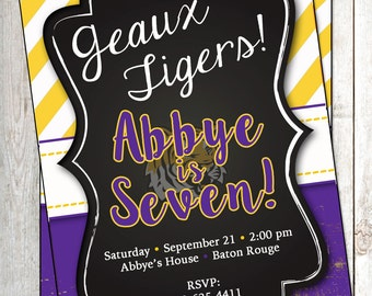 LSU Football Invitation LSU Invite Football Invitation LSU Party Invitation lsu birthday Invitation