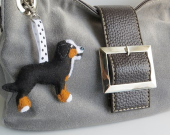Bernese Mountain dog hand sewn felt bag charm