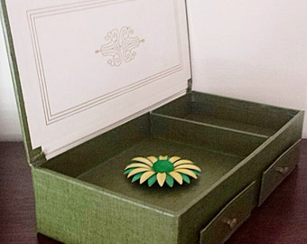 Vintage Green and Gold Jewelry Box *FREE  SHIPPING*