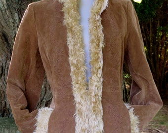 Winlit, Women's Vintage Suede Leather Jacket, Tan With Fur and Floral Etching, Size Small