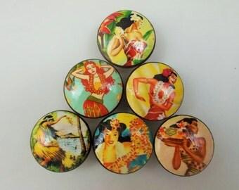 Set of 6 Hula Girl Cabinet Knobs