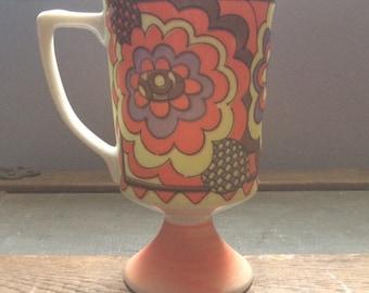Vintage Pyschodelic Yellow Orange Purple Flower Pedestal Mug