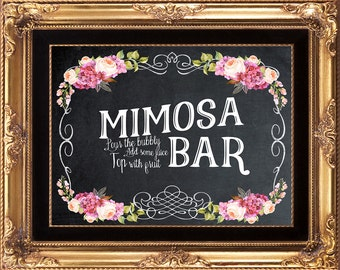 printable mimosa bar sign, wedding mimosa bar sign, mimosa bar sign, chalkboard mimosa bar sign, 8 x 10, you print