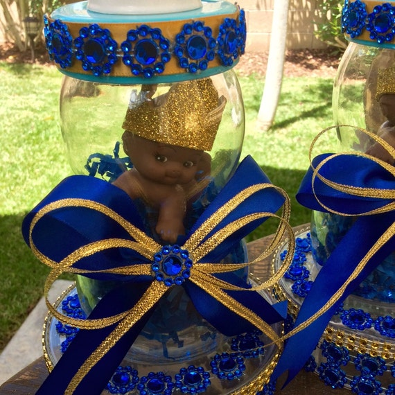 One royal blue prince baby shower centerpiece little