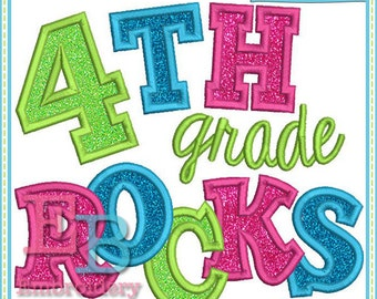 Fourth Grade Rocks Applique - This design is to be used on an embroidery machine. Instant Download