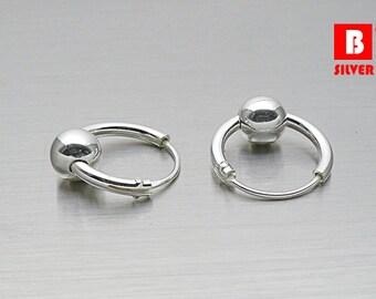 925 Sterling Silver Earrings, Hoop Earrings, Round ball Hoop Earrings (Code : EY33)