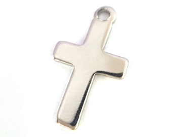 2x Small Silver Plated Cross Charms - M054-B