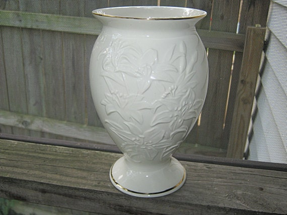 Lenox China Vase Ivory Colored Embossed With Lillies Large