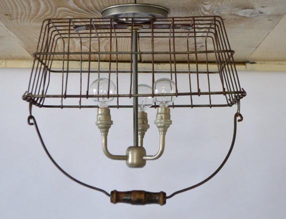 Repurposed wire basket chandelier by jknoxdesigns on etsy - Wire basket chandelier ...