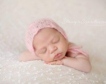 Baby Pink Mohair Hat, Mohair Bonnet, Pink Hat, Newborn Bonnet, Newborn Photo Prop