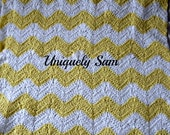 plush baby blanket, baby afghan, yellow striped crochet blanket pram cover buggy blanket
