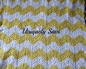 plush baby blanket, baby afghan, yellow striped crochet blanket pram cover buggy blanket