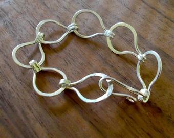 Forged fine silver loop-in-loop bracelet