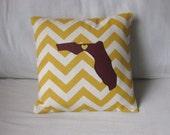 GOLD Chevron Florida Pillow with Heart - FSU Seminoles - GOLD Chevron