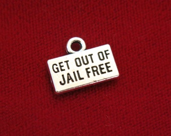 """10pc """"Get out of jail free"""" charms in antique style silver (BC570)"""