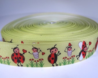 "5 yards of 1 inch ""Ladybugs"" grosgrain ribbon"