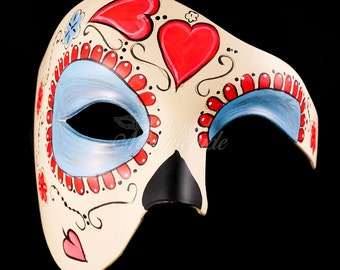 Day of the Dead Wedding - Love/Heart Phantom Masquerade Mask, Day of the Dead Mask, Dia de los Muertos Mask, Masquerade Mask