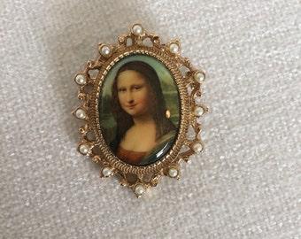 CLEARANCE Sale Vintage Mona Lisa Brooch