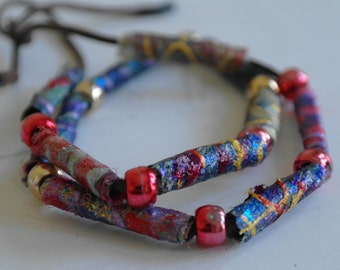 Fabric Bead Necklace, Experimental Textile Necklace, Beaded Necklace, Jewellery,