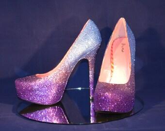 Purple Blue Ombre Glitter Platform Heels