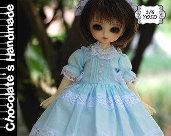 BJD Pattern YOSD 1/6 sky blue elegant short sleeve cute dress E-Pattern [with English Instruction]