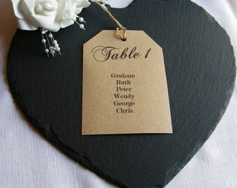 Vintage Wedding Table Plan Tags - Brown Kraft