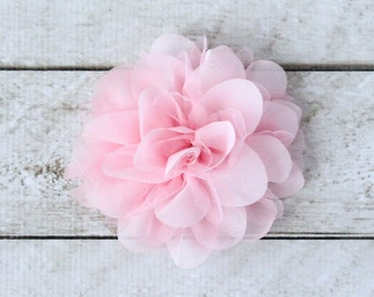 5 inch Chiffon Mesh Flower in Pale Pink - Flower Head for Headbands, Hair Clips and DIY Hair Accessories - Couture Craft Supply