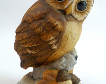 ANDREA by SADEK OWL #6350 with Acorns Autumn Brown Hoot Owlet by Sadek Porcelain Andrea Baby Owl #6350 Japan